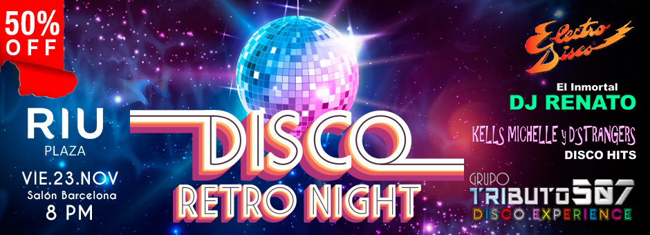 "50% OFF: Paga $10.70 por entrada para la ""Disco Retro Night"", el 23 de Nov en el Hotel Riu Plaza. 