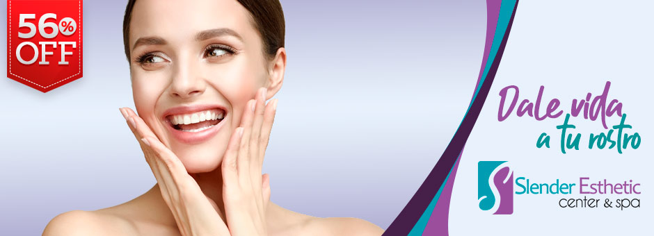 "56% OFF: ¡Súper promo 2x1! Paga $35 por 2 faciales completos en ""Slender Esthetic Center"". ¡Ver más!"